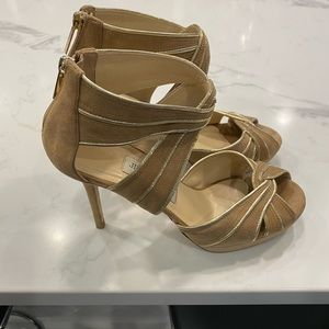 Jimmy Choo Koko Nude and Gold Suede Sandals